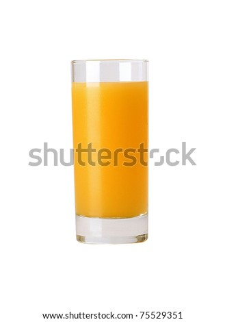 Glass with orange juice on the white