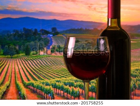 glass with red wine and bottle on the vineyards background, atmosphere sunset