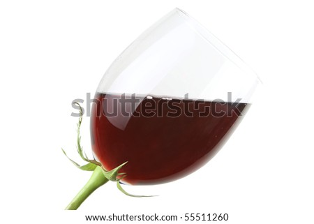 Glass with red wine as a flower isolated on white - stock photo