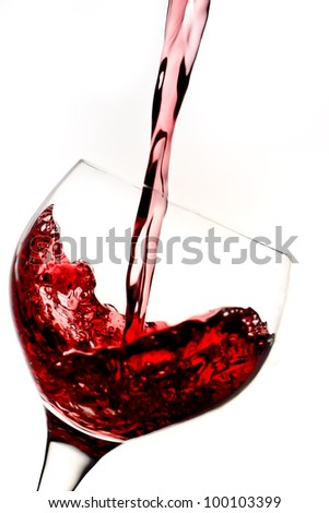 Glass with red wine on white background - stock photo