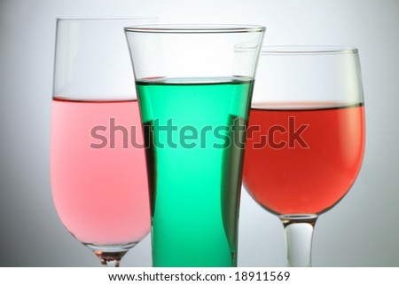 Glass with Several Colorful Juice