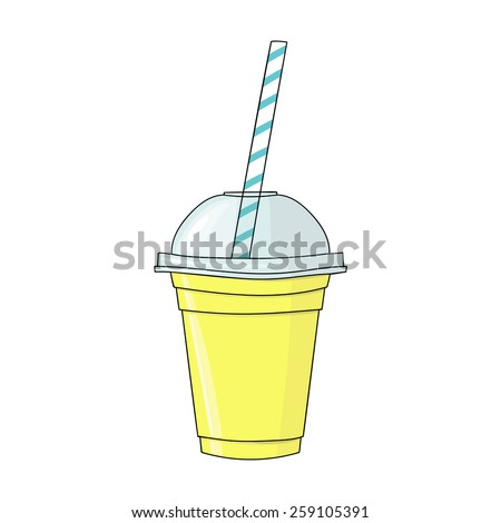 Glass with smoothie. Natural bio drink, healthy organic food. Hand drawn illustration in doodle style isolated on white background. - stock photo