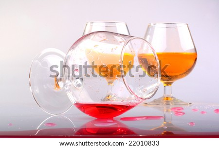 Glass with splashes from a red drink