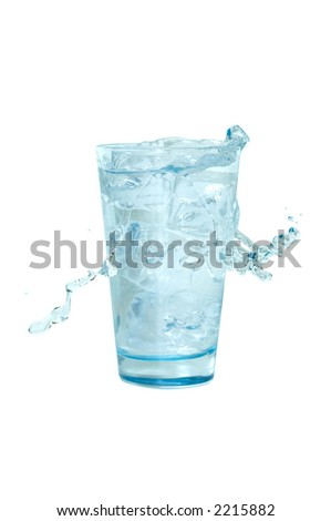 glass with splashing water (clipping path included) - stock photo