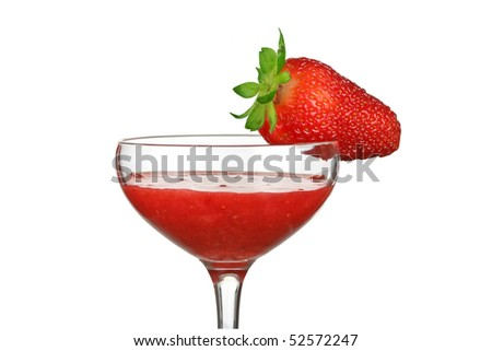glass with strawbberies mix drink