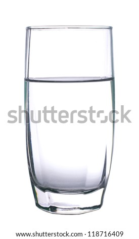 Glass with water isolated on white background - stock photo