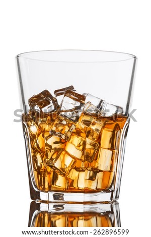 Glass with whiskey on white background