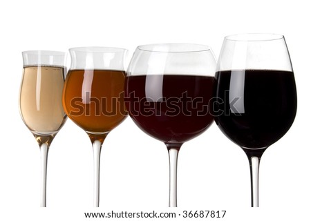 glass with white and red wine