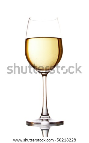 Glass with white wine isolated on a white background - stock photo