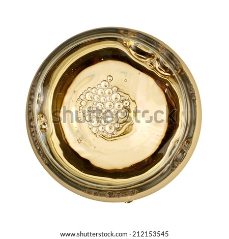 Glass with white wine, top view - stock photo