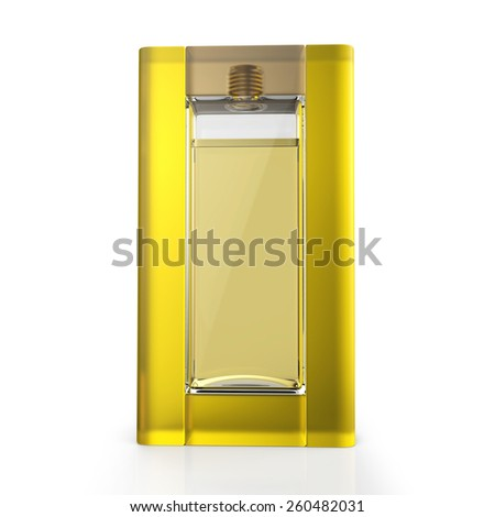 glassed perfume bottle with a yellow frame - stock photo