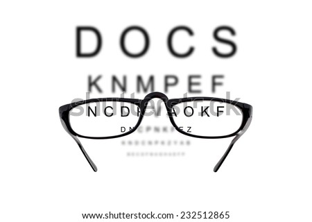 Glasses against cloudy background of letters - stock photo