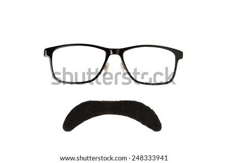 Glasses and Black Moustache Isolated on a White Background  - stock photo