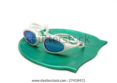 Glasses and cap for swimming
