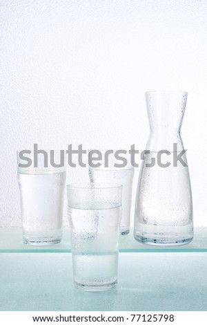 glasses and carafe with water