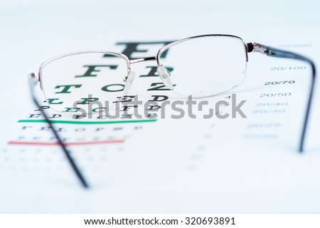 Glasses and Eye Chart - stock photo