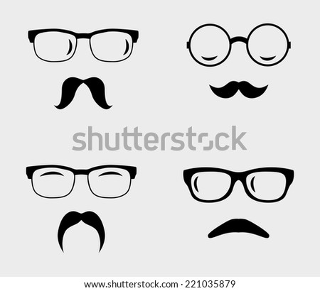 Glasses and mustaches set. Retro, hipster styles - stock photo