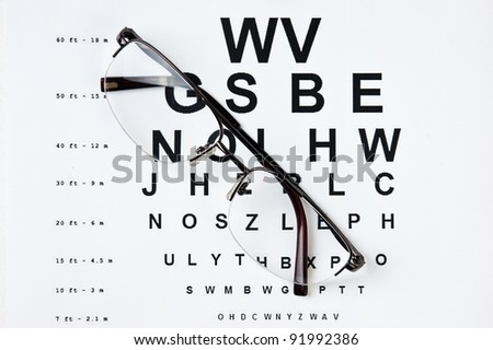 glasses and tables to check the terms of - stock photo