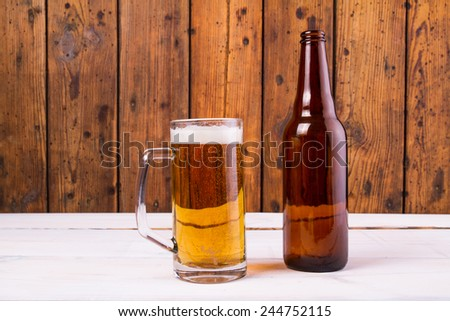 Glasses beer on a table - stock photo