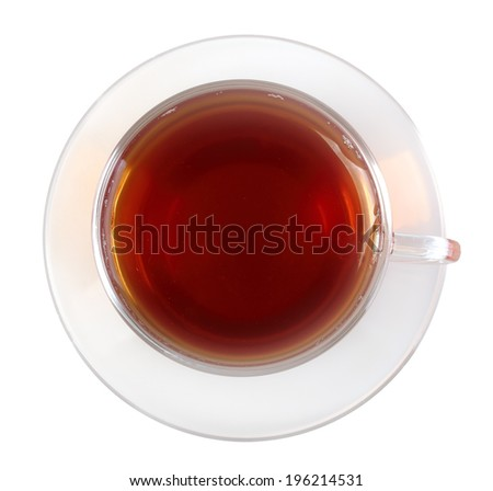 Glasses cup with black tea, top view. Isolated on white background. Close-up. Studio photography. - stock photo