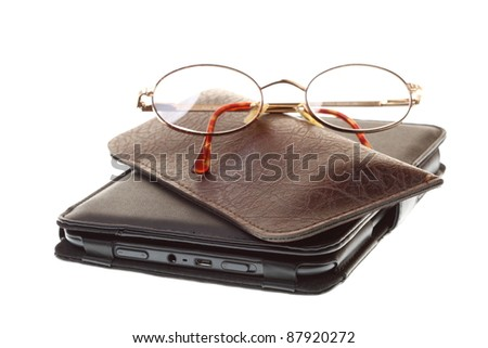 glasses eBook reader white isolated background nobody - stock photo