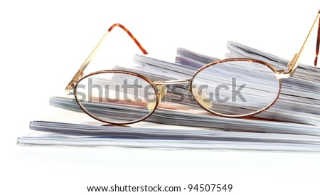 glasses eBook reader white isolated background nobody