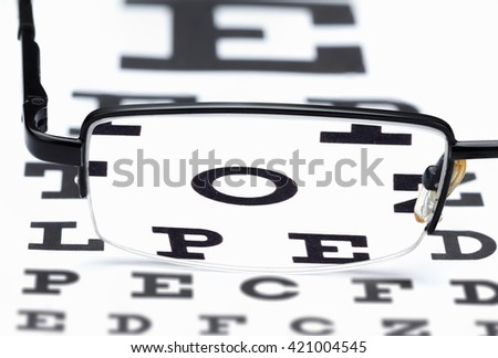 Glasses eye exam chart ophthalmologist isolated on white background - stock photo