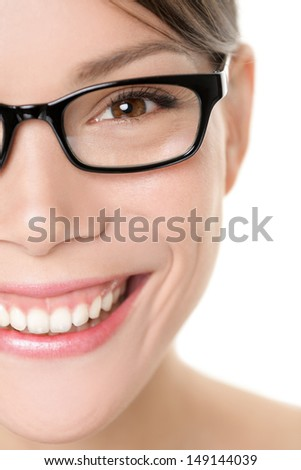 Glasses eyewear woman portrait close up. Young business woman wearing eye-wear glasses smiling happy looking at camera. Multiracial Asian Chinese / Caucasian girl isolated on white background. - stock photo