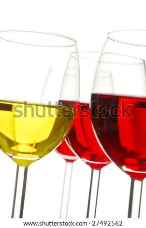 Glasses filed with wine studio isolated on white background