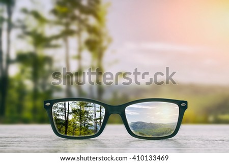 glasses focus background wooden - stock image - stock photo
