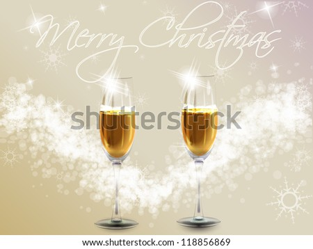 Glasses full of champagne and text/Christmas background - stock photo