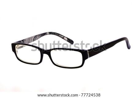 Glasses isolated on white, black frame - stock photo