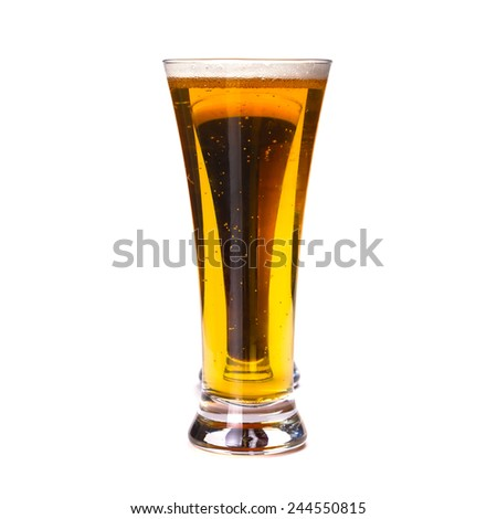 Glasses lager and dark beer isolated on white - stock photo