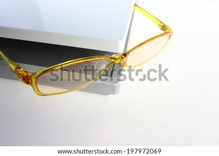 glasses , laptop - stock photo