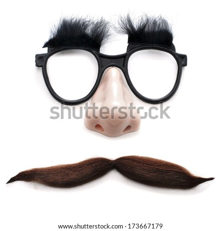 glasses, nose and mustache on a white background depicting a man face  - stock photo