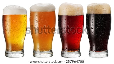 Glasses of beer on white background.File contains clipping paths. - stock photo