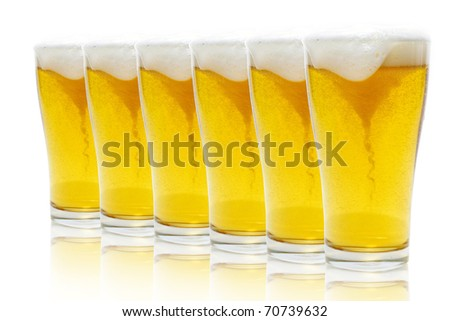 Glasses of beer with froth