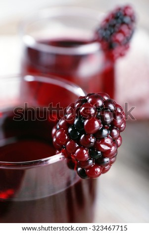 Glasses of blackberry juice, closeup