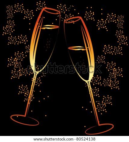 glasses of champagne - stock photo