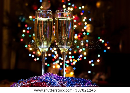 Glasses of champagne at New year