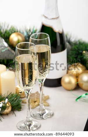 Glasses of champagne at New Year's Eve - stock photo