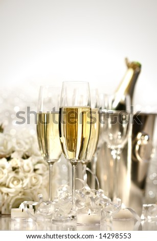 Glasses of champagne for a wedding reception - stock photo
