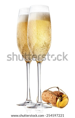 glasses of champagne Isolated on white backgroun - stock photo