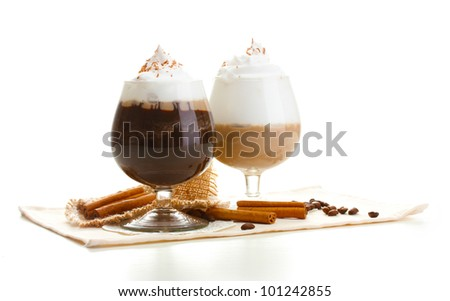 glasses of coffee cocktail isolated on white - stock photo