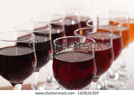 Glasses of different wines.