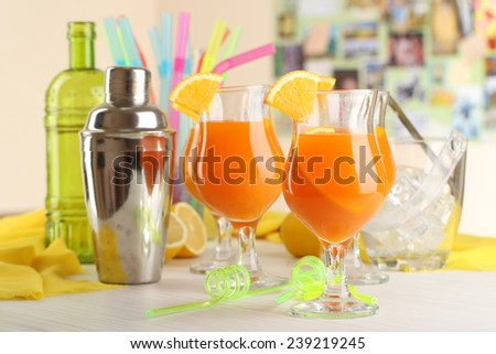 Glasses of fruit cocktails in party close-up - stock photo