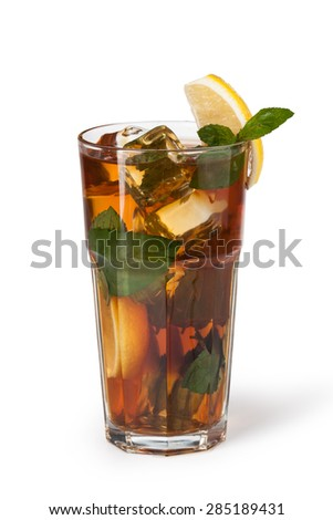Glasses of fruit drinks with ice cubes isolated on white - stock photo