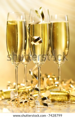 Glasses of golden champagne ready to party