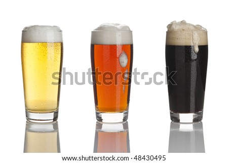 glasses of lager beer, ale and stout - stock photo