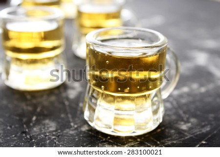 Glasses of light beers - happy hour concept - stock photo